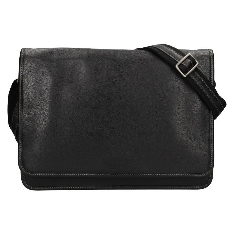 Pánska celokožená taška cez rameno Hexagona Astor - čierna