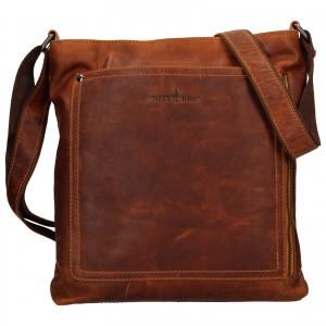 Pánska kožená taška cez rameno Greenwood Sebastian - hnedá