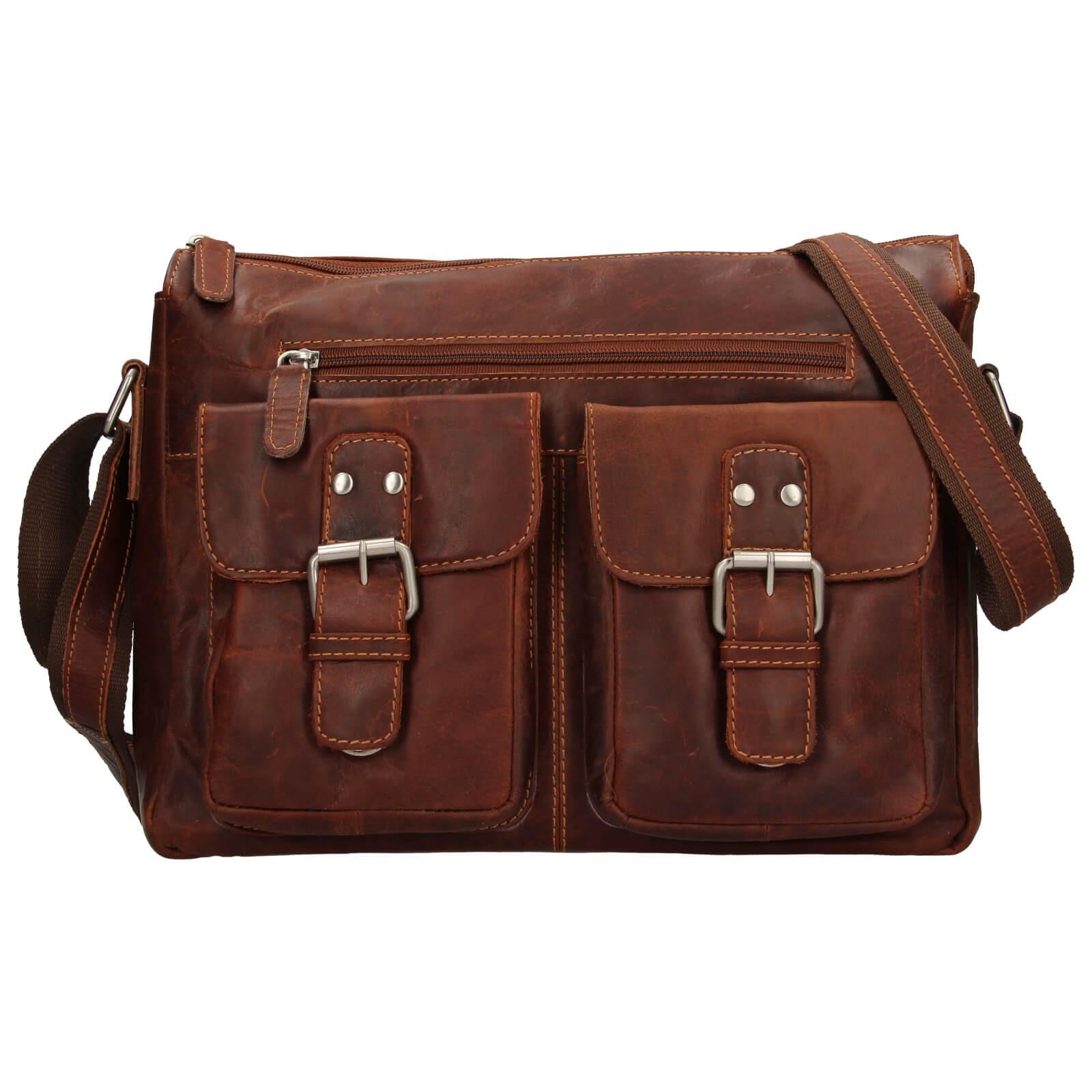 Pánska kožená taška cez rameno Greenwood Libor - hnedá