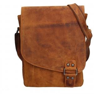 Pánska kožená taška cez rameno Greenwood Jamie - hnedá