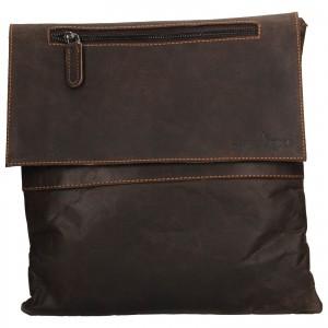 Pánska kožená taška cez rameno Greenwood Dalibor - tmavo hnedá