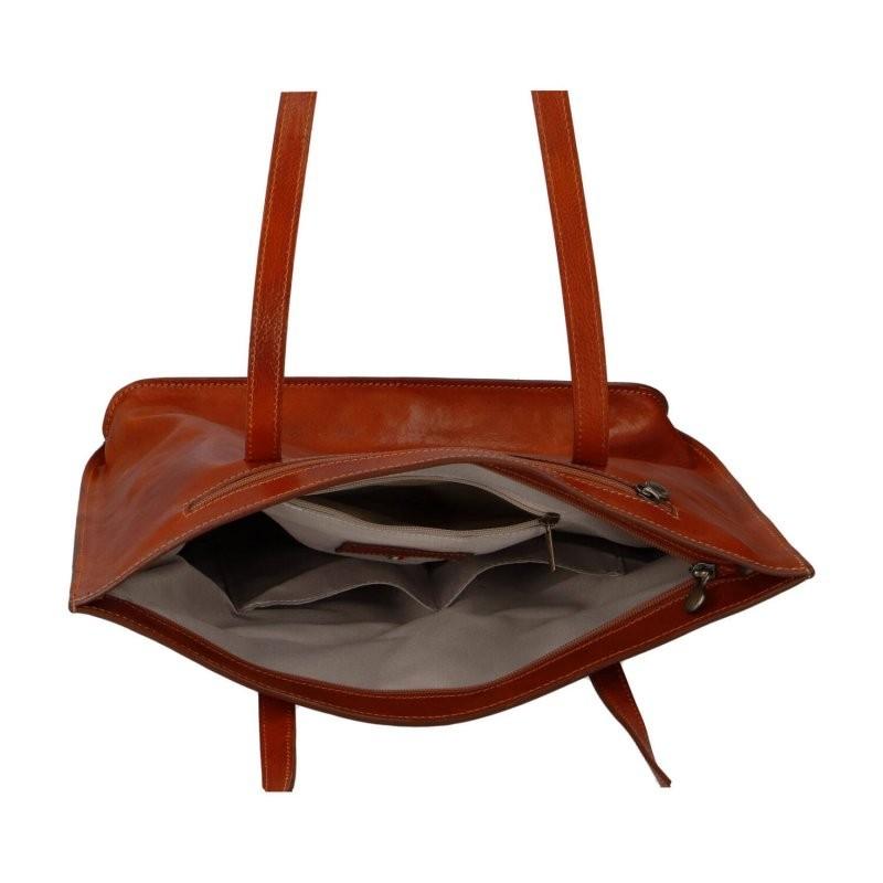 Dámska kožená kabelka Vera Pelle Marabela - koňak
