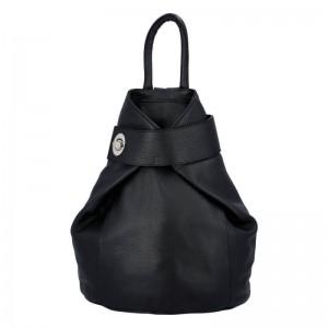 Dámsky kožený batoh Delami Miriam - čierna