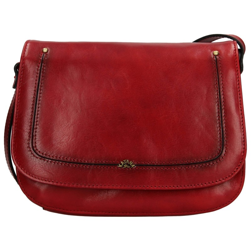 Kožená dámska crosbody kabelka Katana Zorra - tmavo červená