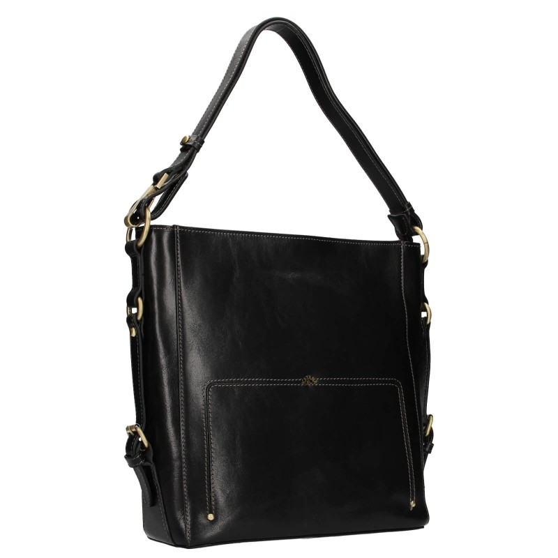 Elegantná dámska kožená kabelka Katana Darina - čierna