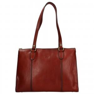 Elegantná dámska kožená kabelka Katana Jarusk - hnedá