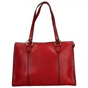 Elegantná dámska kožená kabelka Katana Jarusk - tmavo červená