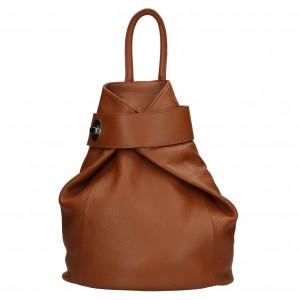 Dámsky kožený batoh Delami Miriam - hnedá
