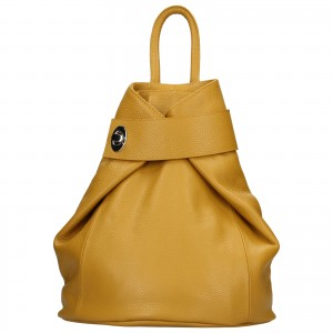 Dámsky kožený batoh Delami Miriam - žltá