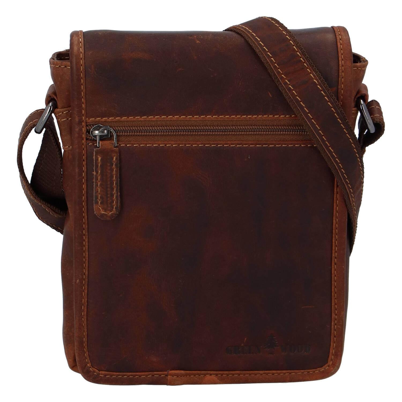 Pánska kožená taška cez rameno Greenwood Felix - hnedá
