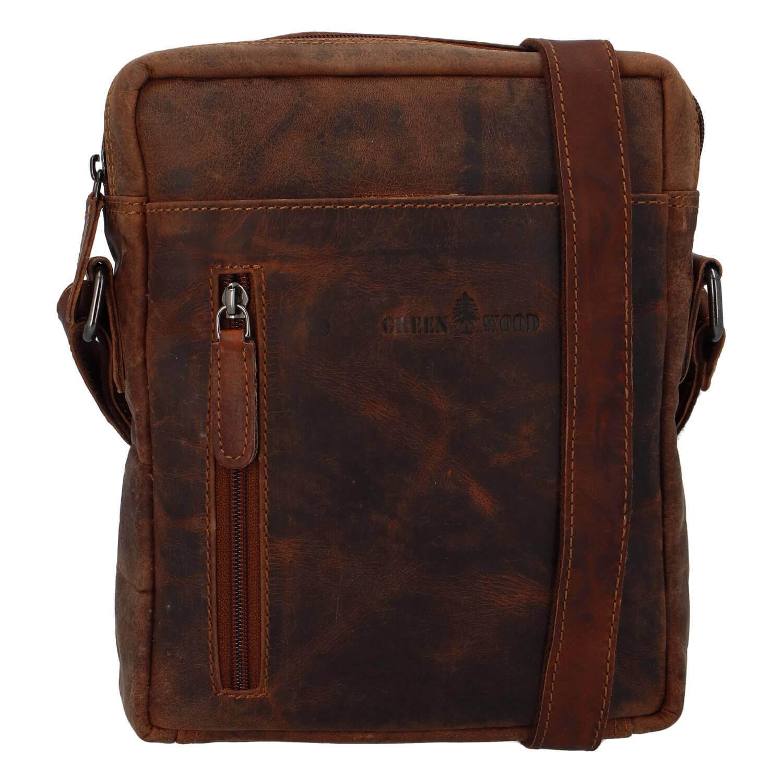 Pánska kožená taška cez rameno Greenwood Vašek - hnedá