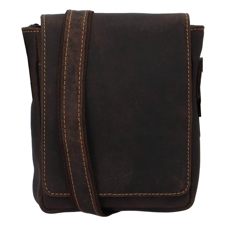 Pánska kožená taška cez rameno Greenwood Petr - hnedá