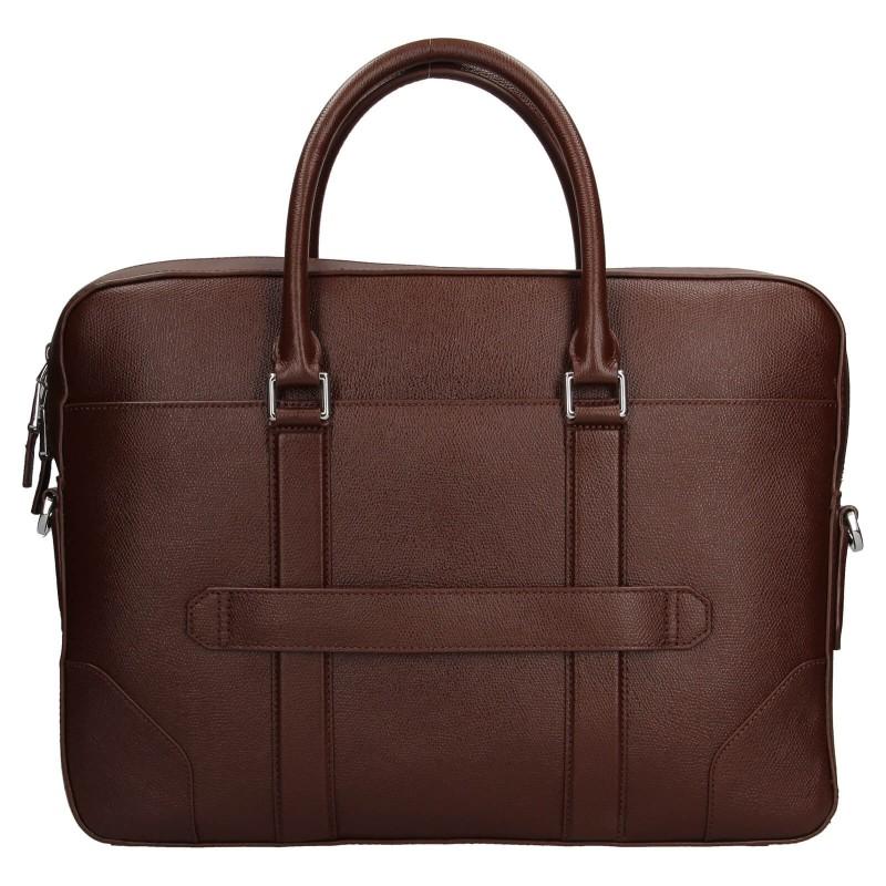 Pánska kožená business taška na notebook Tommy Hilfiger - hnedá