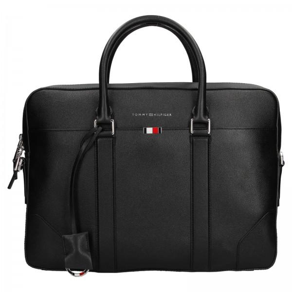 Pánska kožená business taška na notebook Tommy Hilfiger - čierna