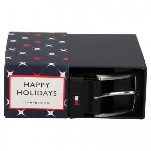 Darčekové balenie koženého opasku Tommy Hilfiger Vilmond - čierna