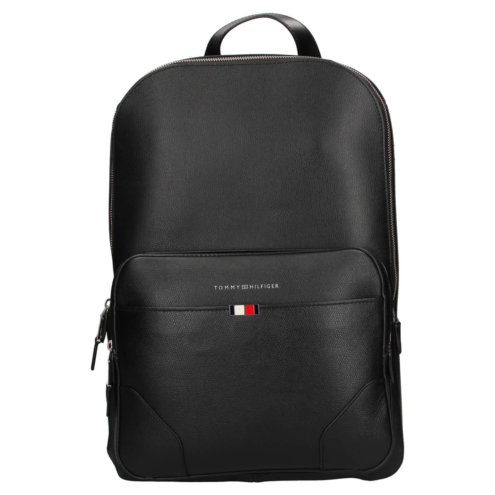 Pánsky kožený batoh Tommy Hilfiger Sima - čierná
