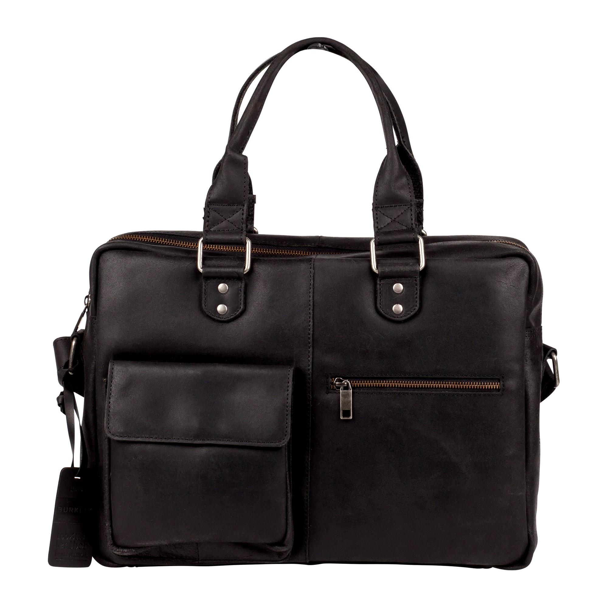 Pánska kožená taška na notebook Burkely Elen - čierna