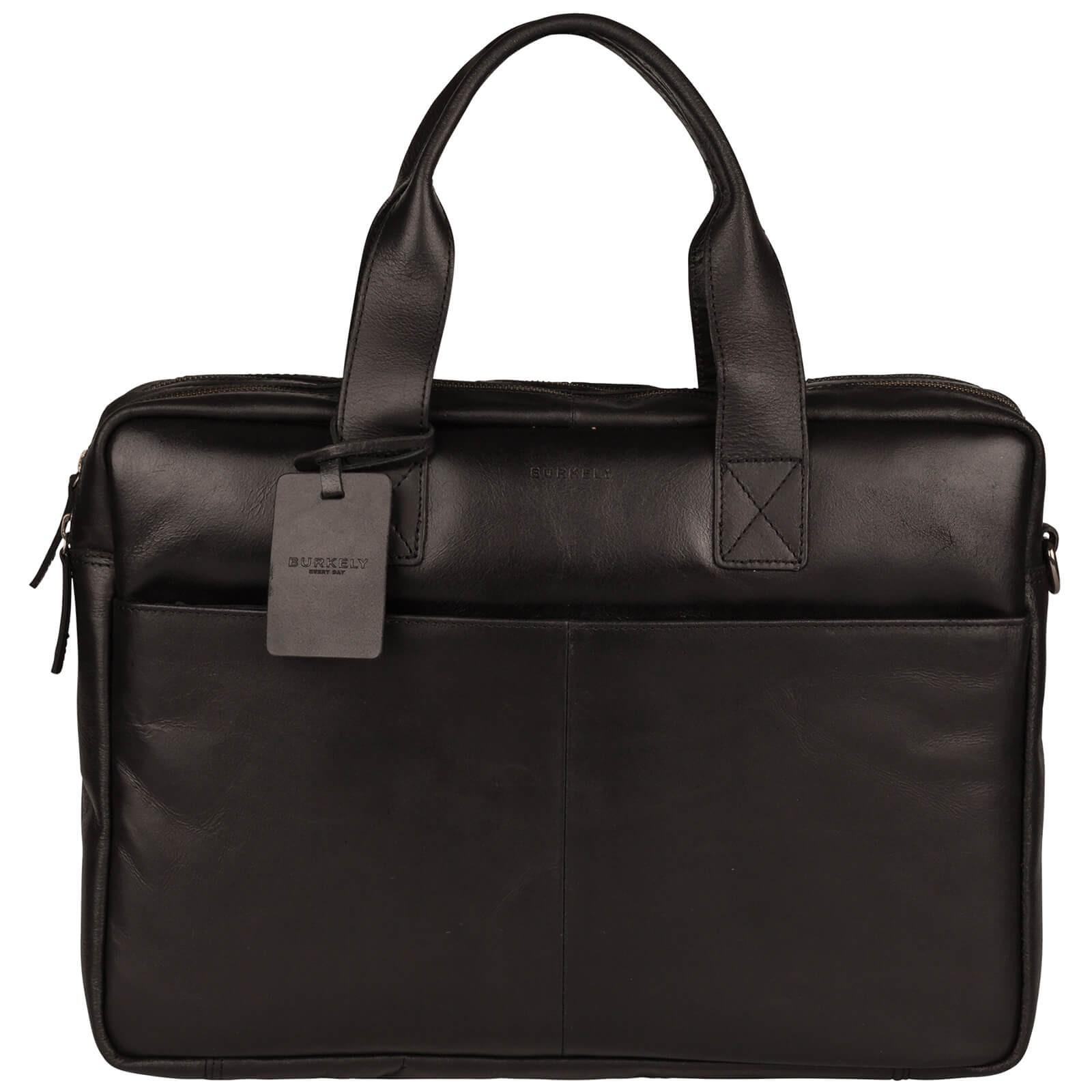 Pánska kožená taška na notebook Burkely Josse - čierna