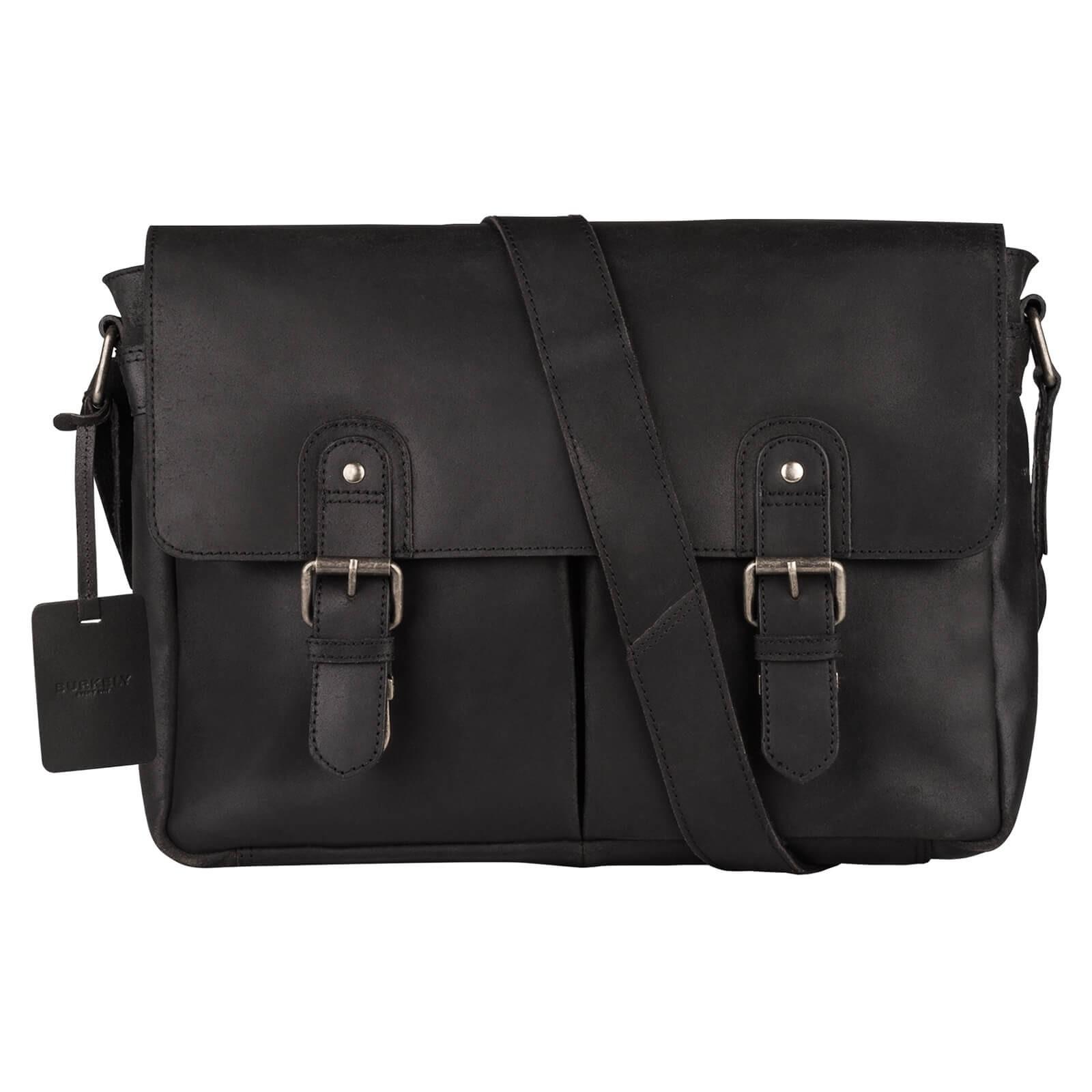 Pánska kožená taška cez rameno Burkely Glenn - čierna