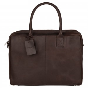 Kožená taška na notebook Burkely Taylor - tmavo hnedá