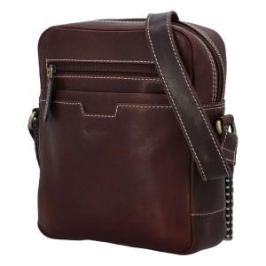 Pánska kožená taška cez rameno Diviley Edvin - hnedá