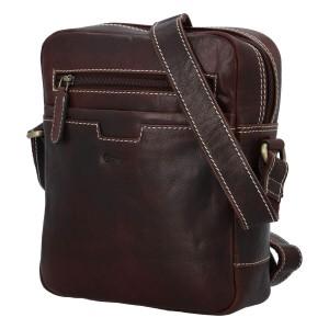 Pánska kožená taška cez rameno Diviley Edvin - tmavo hnedá