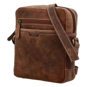 Pánska kožená taška cez rameno Diviley Trevis - hnedá