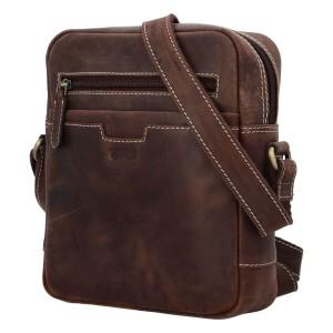 Pánska kožená taška cez rameno Diviley Trevis - tmavo hnedá