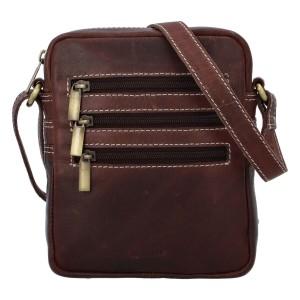 Pánska kožená taška cez rameno Diviley Fion - hnedá