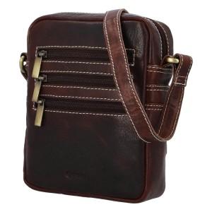 Pánska kožená taška cez rameno Diviley Fion - tmavo hnedá