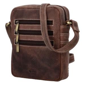 Pánska kožená taška cez rameno Diviley Kley - tmavo hnedá