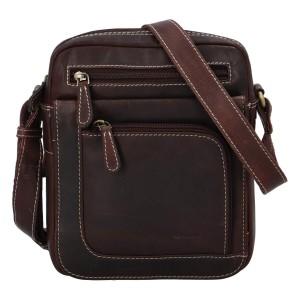 Pánska kožená taška cez rameno Diviley Filip - tmavo hnedá