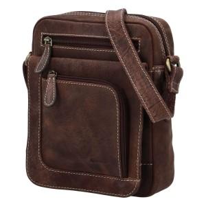 Pánska kožená taška cez rameno Diviley Oliver - hnedá
