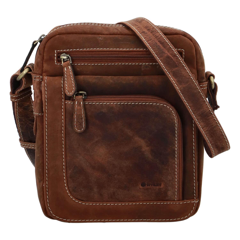 Pánska kožená taška cez rameno Diviley Oliver - koňak