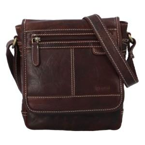 Pánska kožená taška cez rameno Diviley Gustav - tmavo hnedá