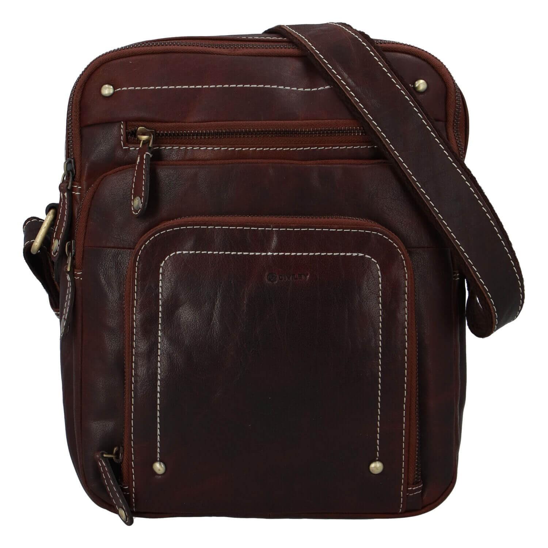 Pánska kožená taška cez rameno Diviley Vilém - koňak