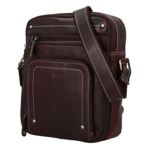 Pánska kožená taška cez rameno Diviley Vilém - tmavo hnedá