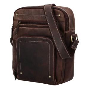 Pánska kožená taška cez rameno Diviley Sedyn - hnedá