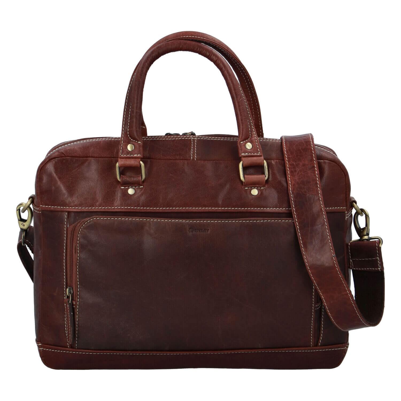 Pánska kožená taška na notebook Diviley Faust - koňak