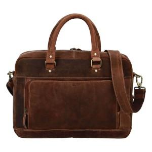 Pánska kožená taška na notebook Diviley Quido - koňak