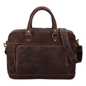 Pánska kožená taška na notebook Diviley Quido - hnedá