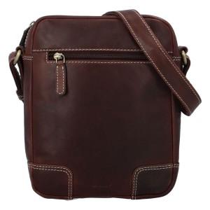 Pánska kožená taška cez rameno Diviley Samuel - hnedá