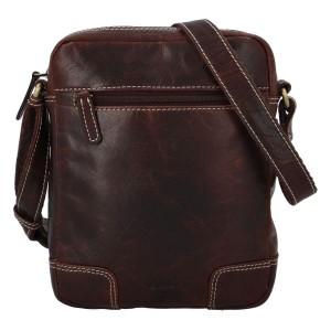 Pánska kožená taška cez rameno Diviley Samuel - tmavo hnedá