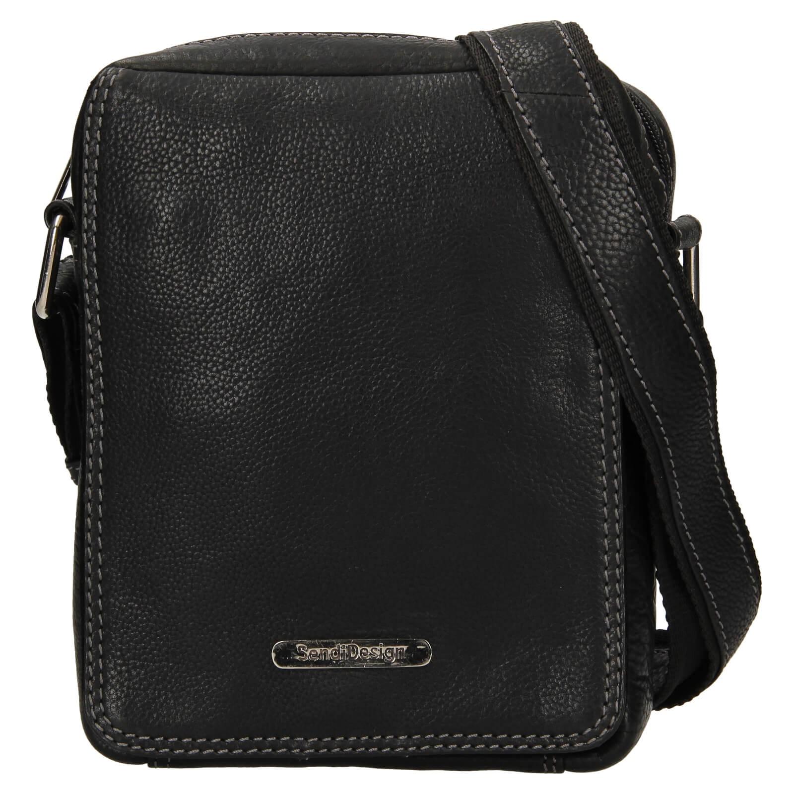 Pánska kožená taška cez rameno SendiDesign Nikk - čierna