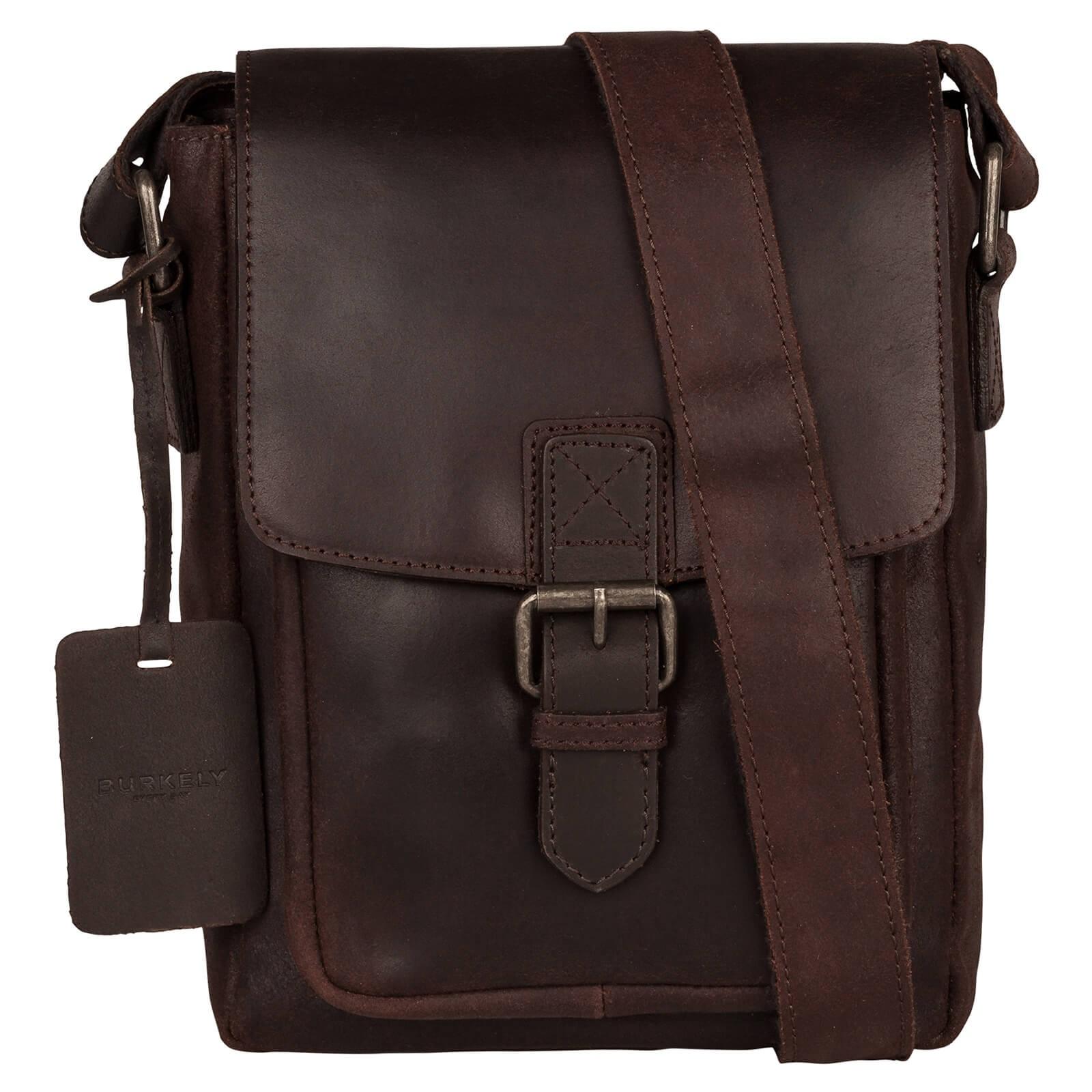 Pánska kožená taška cez rameno Burkely Luke - tmavo hnedá