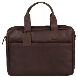 Pánska kožená taška na notebook Burkely Josse - tmavo hnedá