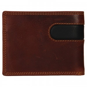 Pánska kožená peňaženka SendiDesign Pent - hnedo-čierna
