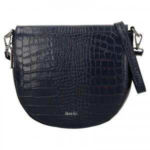 Dámska kožená crossbody kabelka Rovicky Croco - tmavo modrá