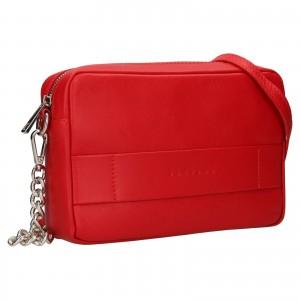 Trendy dámska kožená crossbody kabelka Facebag Ninas - svetle červená