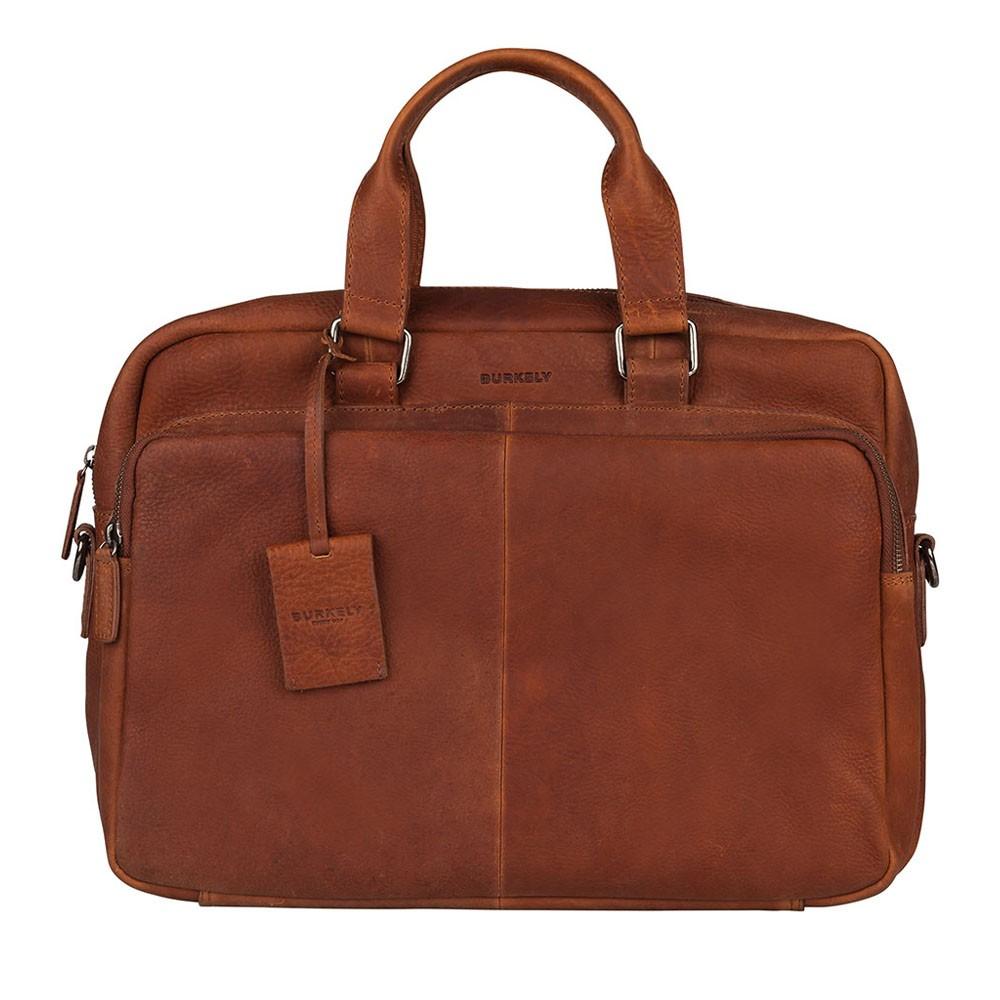 Pánska kožená taška na notebook Burkely Workbag - koňak